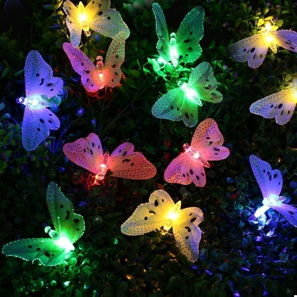 Waterproof 12 pcs Fiber Optic... cuzile Outside Solar Light Garden Lights