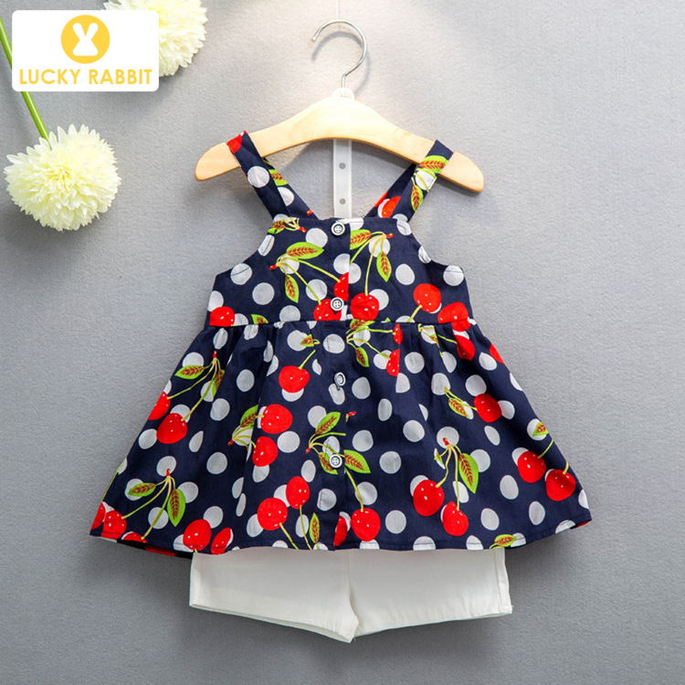 Cherry Print Tops Beautiful Pretty Children Girl Clothes Vest Floral 2 Piece Girls Matching Summer Sets Clothing фото