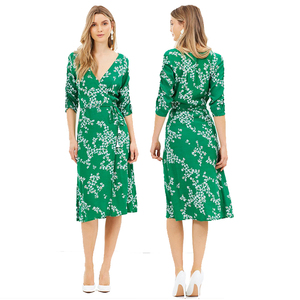 Floral smart casual maxi green dress women