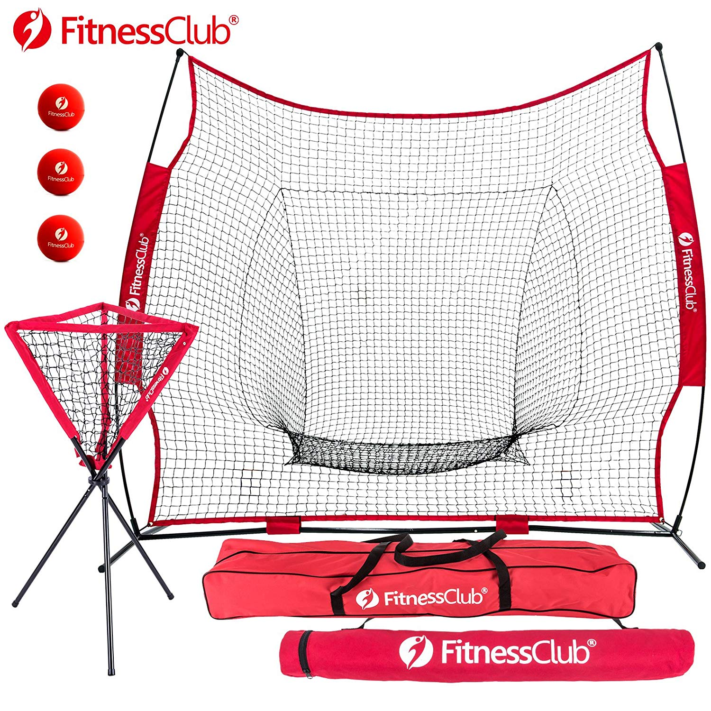 Fitnessclub 7' x 7' Baseball & Softball Practice Net Hitting & Pitching Training Aids Net w/ Carrying Bag Batting Practice Tools + 1 Ball Caddy w/Carrying Bag + 3 Red Training Balls