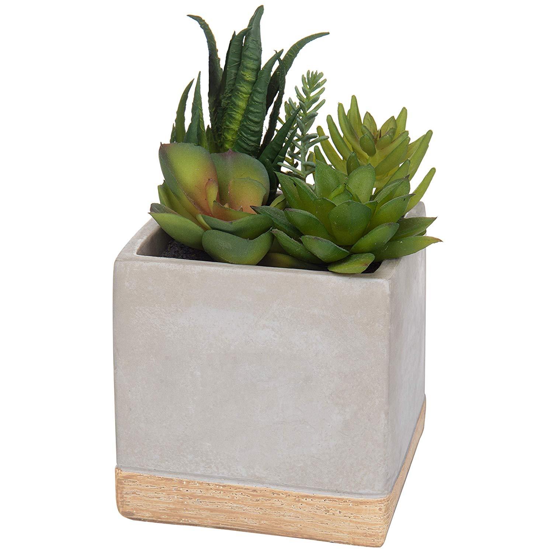 MyGift Assorted Faux Succulent Plant Arrangement in Square Cement-Tone Planter