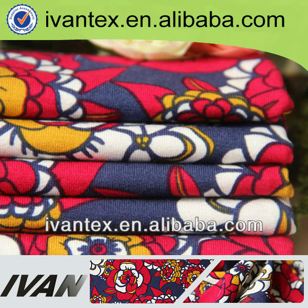 2013 new design soft lycra 100% printed viscose fabric