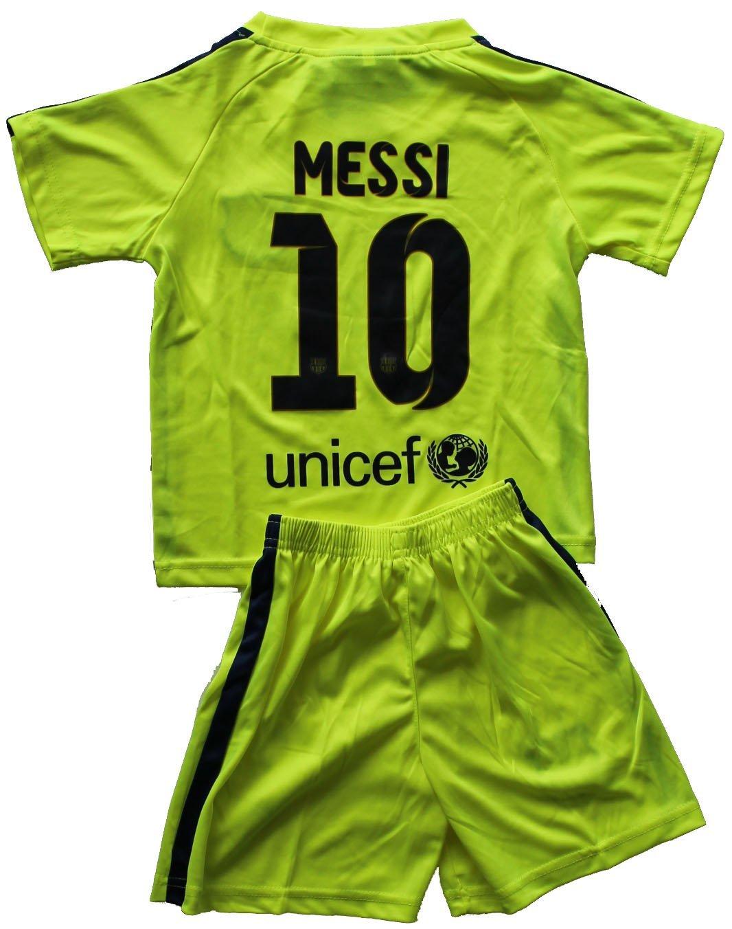 086b4fc6e24 2014/2015 FC BARCELONA THIRD LIME GREEN LIONEL MESSI (10) FOOTBALL SOCCER  KIDS