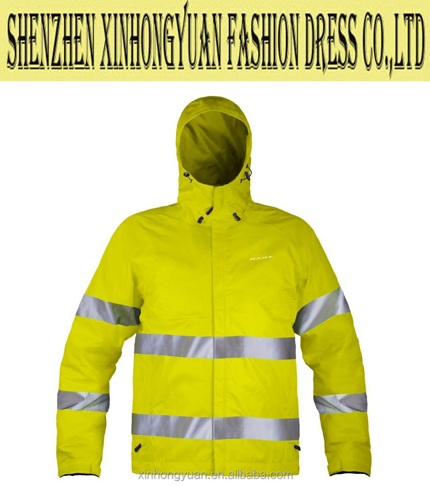 Protective paramedic, reflective hi vi jacket, hooded pattern for rainny day outdoor workwear
