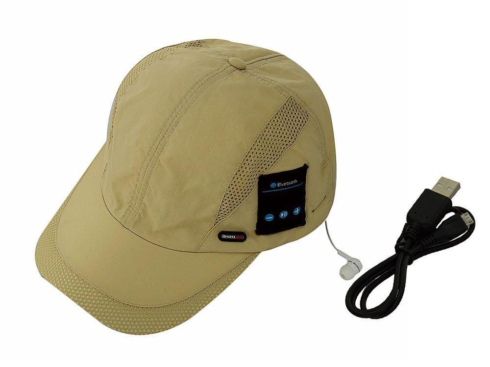 Winkeyes Women Men Bluetooth Baseball Cap Sun Hat Wireless Bluetooth Headset Sports Cap Music Speaker Sporting Running Summer Cap (Baseball hat-Sand)