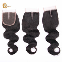 Top Quality Cheap Unprocessed Virgin Remy Human Hair Extension Body Wave Peruvian Free Part Lace Closure With Baby Hair