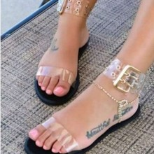 3ca017fc4 Sandals Women Gladiator Sandals Transparent Flats Shoes Large Size Female  Clear Jelly Shoes Ladies Roman Beach