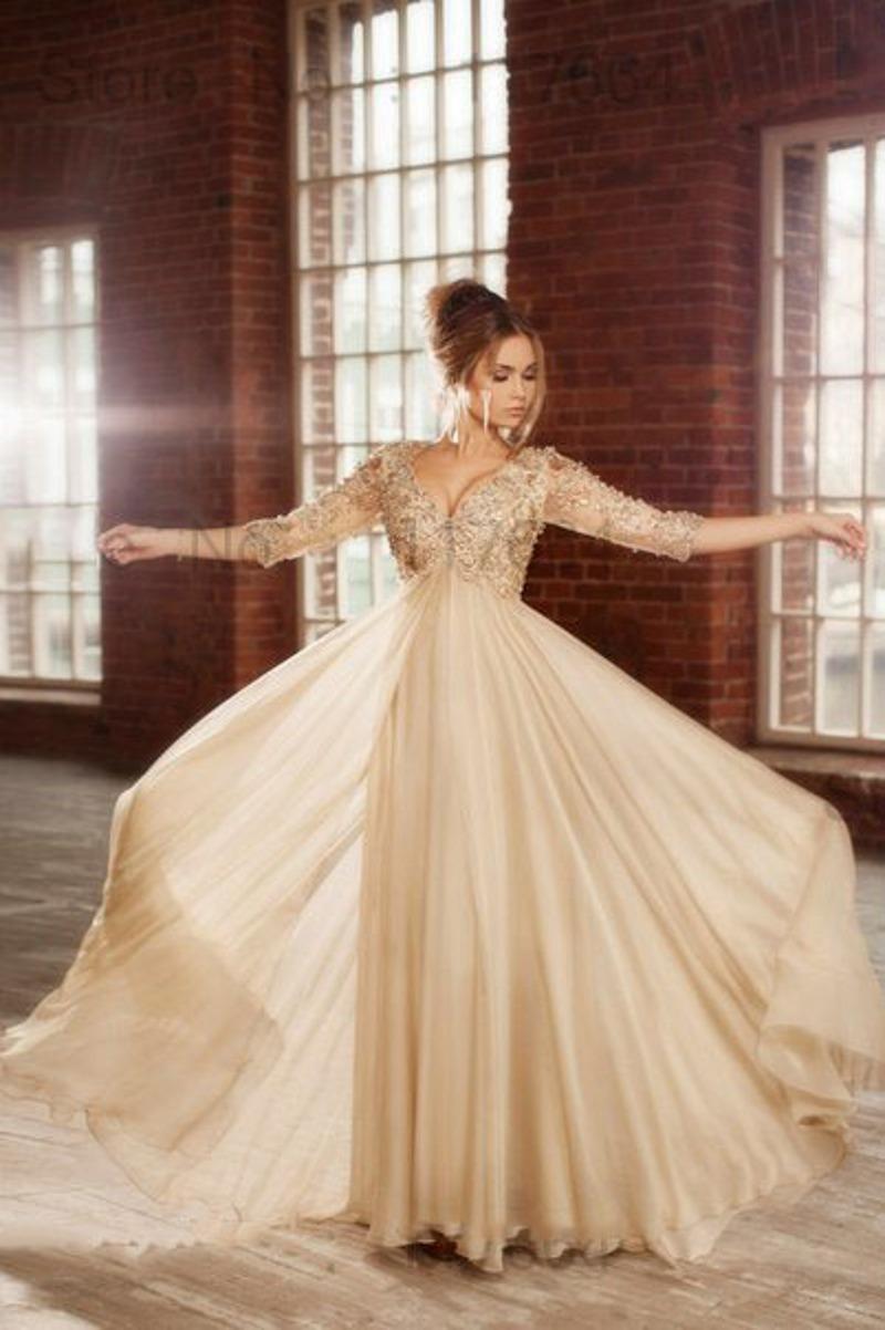 Champagne Elegant Long Evening Dresses 2015 Fashion Arabic
