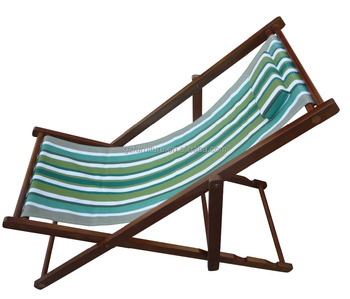 adjustable wooden folding beach chair in beach with pillow beach