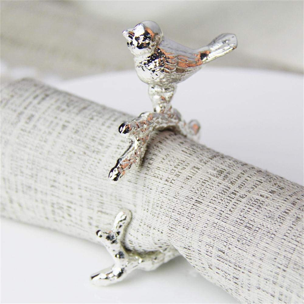 TOYM US- Hotel Mouth Cloth Meal Napkin Deduction Napkin Ring European And Chinese Silver And Silver Birds Simple Meal Deduction ( Color : Silver )