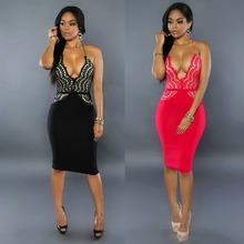 F20116A Fashion sexy dress for women 2016 spaghetti strap deep v neck lace dress