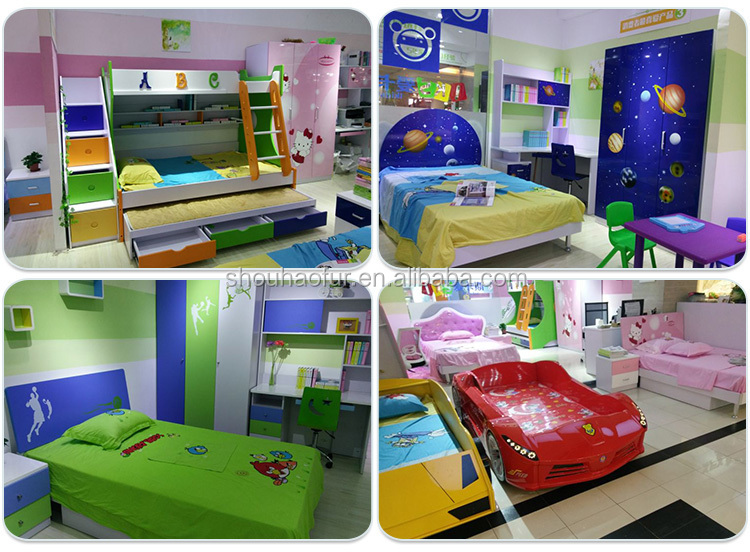 Factory wholesale football design hand painting MDF bedroom set for kids 8350-2