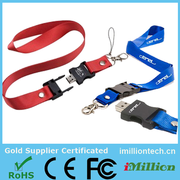 customized lanyard usb stick 8gb , OEM lanyard usb with company logo ,real storage lanyard 8gb usb key