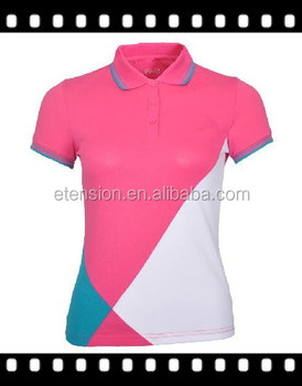 2016 new design ladies sports polo t shirt woman pink