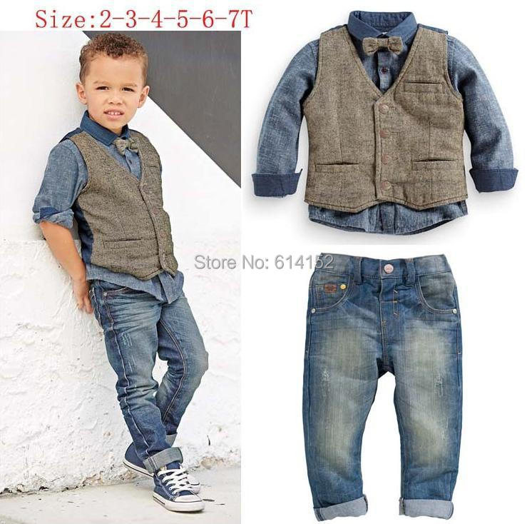 1a4becf53 2015 Spring Kids Boys Clothes Boys Shirts+Vest+Jeans Denim+Tie ...