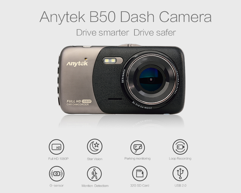Anytek Car DVR 4-inch IPS Display Car Black Boxes B50 Dash Camera Recorder with G-sensor