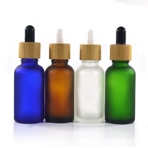 5ml 10ml 15ml 20ml 30ml 50ml 60ml 100ml clear amber blue green frosted glass dropper bottle with bamboo wood lid