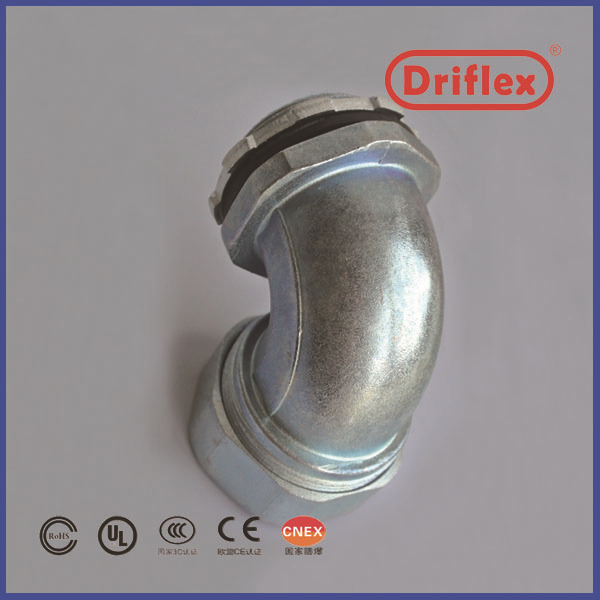 Driflex Offer Zinc Alloy Electric Flexible Hose Connectors 90D Angle Conduit Fittings