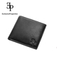 Short black classic leather folding wallet for men and women