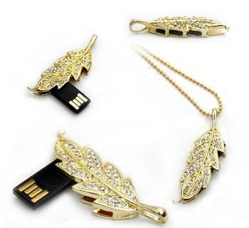 Fashion Jewelry Women Crystal Leaf Modelusb flash drive memory card stick Chain  Necklace 4GB 8GB 6d4460ee2