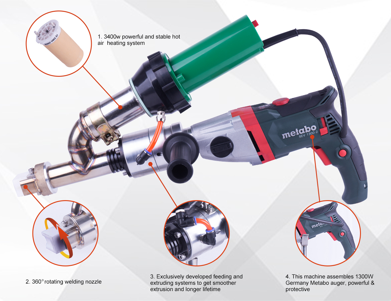 Hand Welding Extruder for Plastic Welding with Metabo Motor
