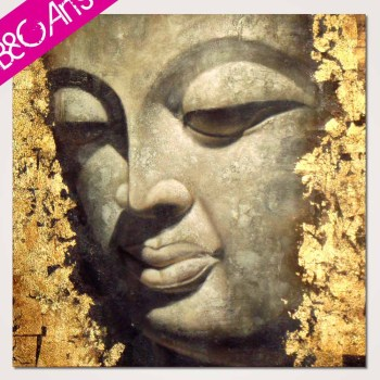 Modern Wall Art Decor Piece Handmade Stretched Buddha Face Painting ...