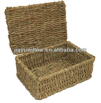 pretty seagrass storage basket box with lid buy pretty. Black Bedroom Furniture Sets. Home Design Ideas