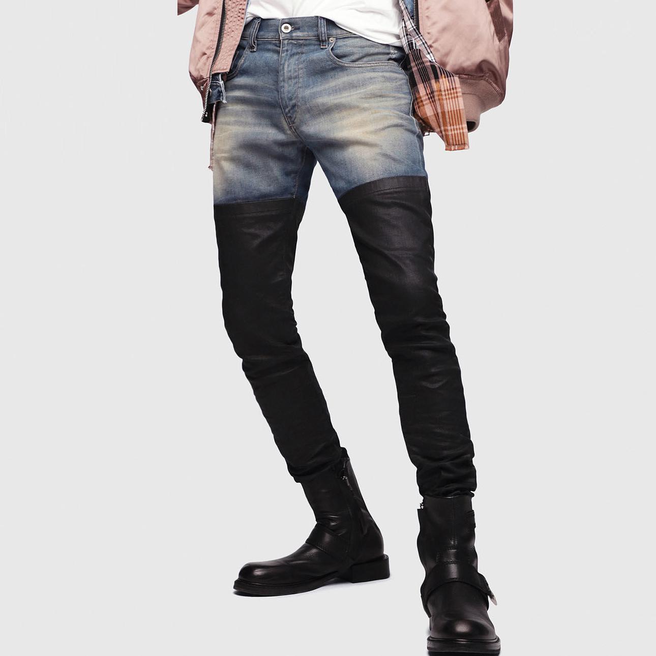नई फैशन डिजाइन OEM ODM पुरुषों पतला जीन्स फट दो टोन स्लिम फिट पतलून