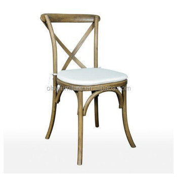 Event Rental Oak Wood French Bistro Rattan Chairs, Rental Wedding Cross  Back Chair,X