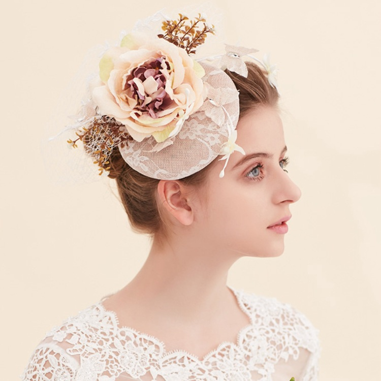 Queena Handmade Chic Fascinator Hat Flower Wedding Party Church Headpiece Headband