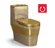 High quality soft touch one piece ceramic gold art toilet bowl