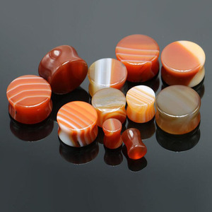 Fashion Natural Stripe Red Agate Solid Double Flared Saddle Stone Ear Plug Piercing Gauge Tunnels