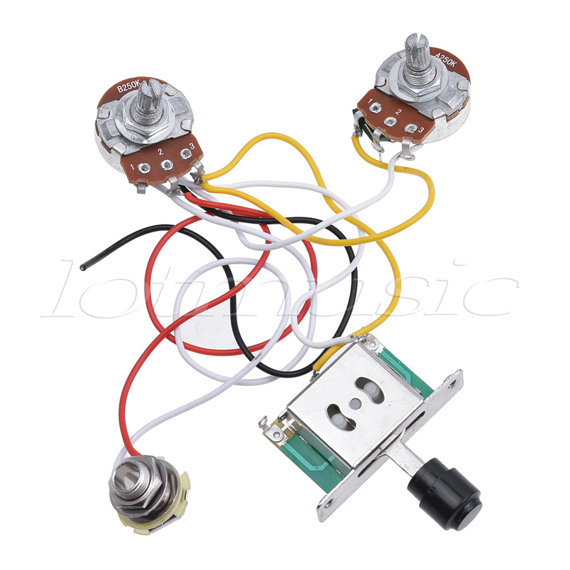 electric guitar prewired wiring harness kit for fender telecaster Electric Guitar Pickup Wiring Diagrams electric guitar prewired wiring harness kit for fender telecaster tele parts 3 way toggle switch 250k pots jack