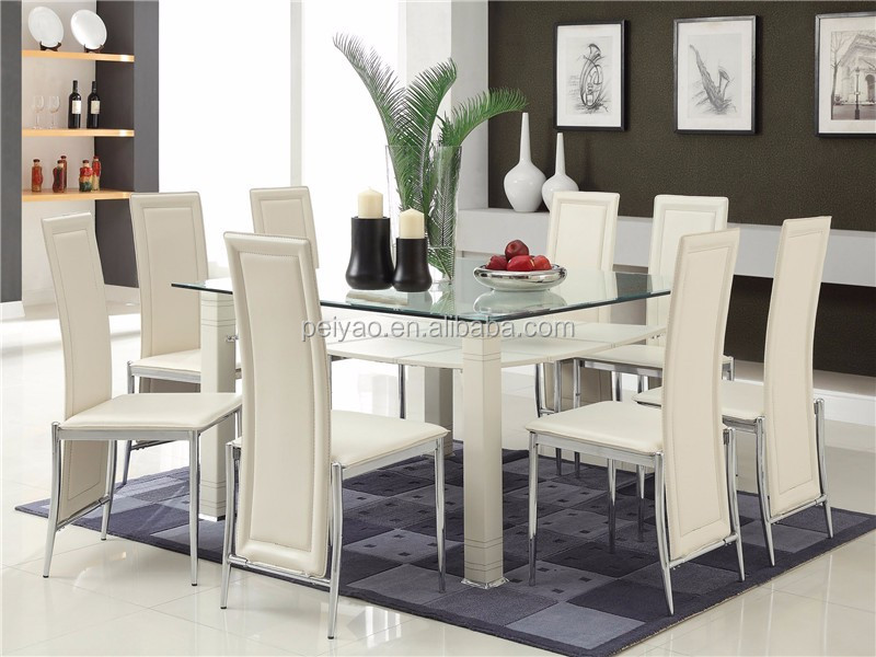 Black Dining Table With Purple And White Chairs