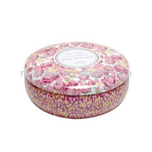 Big Flower Printing Tin Bowl Shaped Airtight Tin Box Candle Wax Can