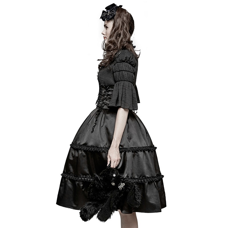 LQ-077 Vintage pure cotton lace collar ruffled sleeves one piece dress