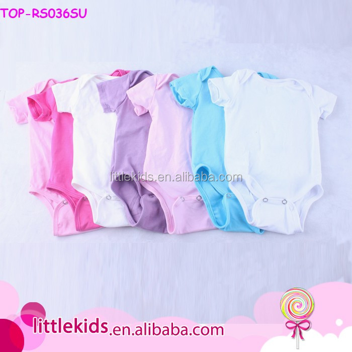 Wholesale Plain Cotton White Baby Summer Onesie Solid Color Short Sleeve Unisex Baby Rompers Blank Onesie