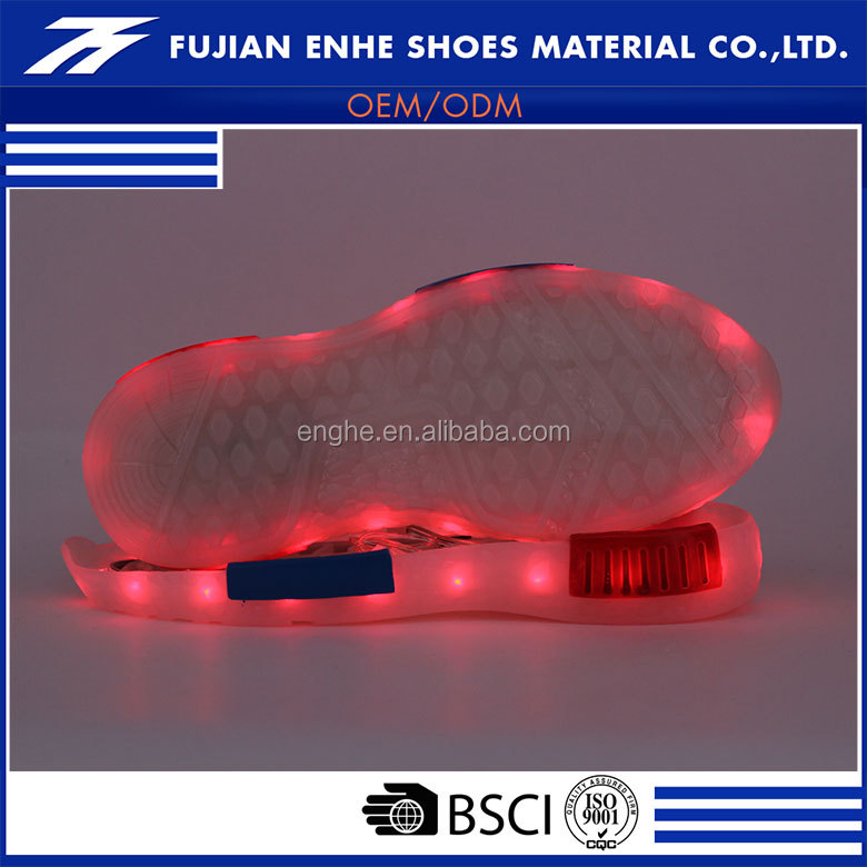 Skillful manufacturer non slip tpr led shoe sole material for kids