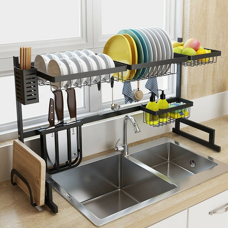 Trendy Home Products Amazon 2019 Stainless Steel Bathroom Rack Kitchen Utensils Organizer Over Sink Metal Storage Holder <strong>Shelf</strong>
