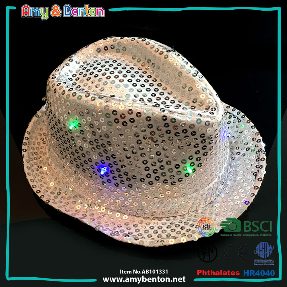 Hot selling crazy hat halloween party ideas flashing light cowboy hats