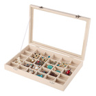 Beige color custom jewelry storage organizer jewellery display tray