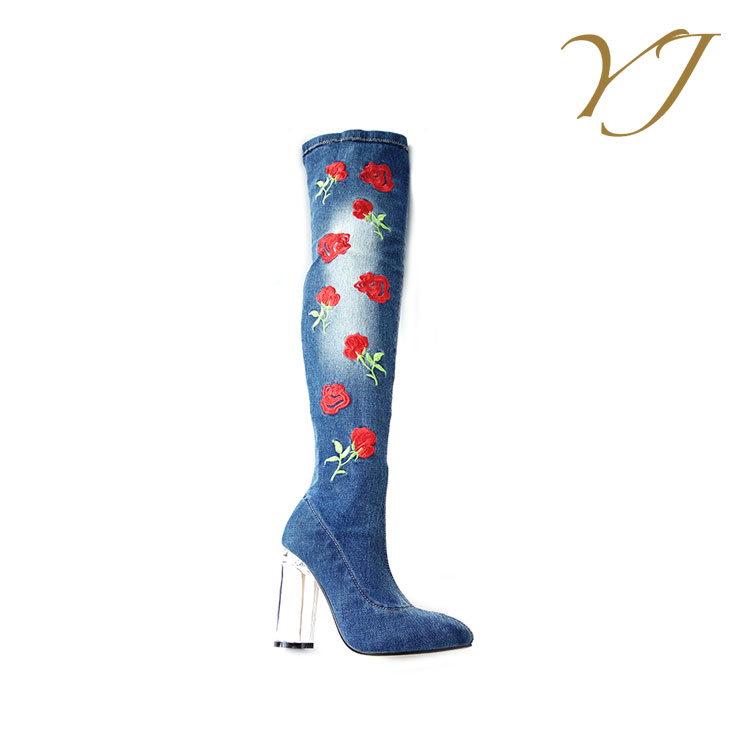 Popular and fashion womens blue denim thigh high boots with crystal heels