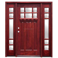 Craftsman Stained Mahogany Wood Front Doors with Dentil Shelf and Sidelites