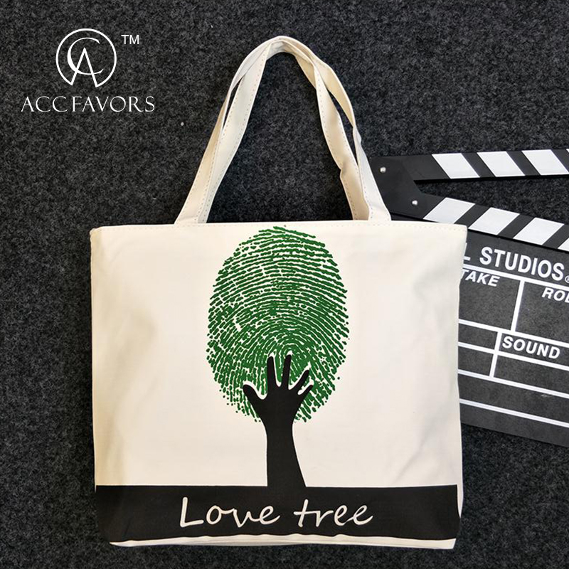 White Tote Full Printing Shopping Cotton Bag