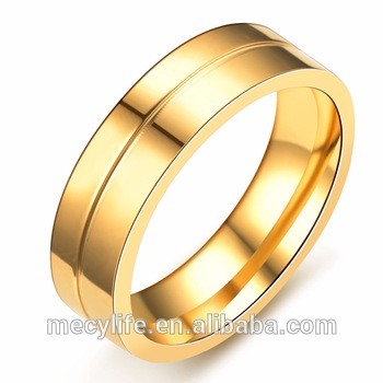 MECYLIFE Latest Design Gold Menu0027s Wedding Jewelry Stainless Steel 18K Gold  Man Ring