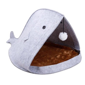 Soft Nonwoven Felt Cat Dog Bed Shark Shaped Felt Cat Bed Nest Pet Mat Bed for Small Medium Dogs Cats Puppy Kitty