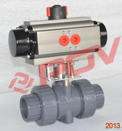 2 Way Pneumatic Actuator Plastic 1 1/2 Inch Pvc Ball Valve Dn40 ...
