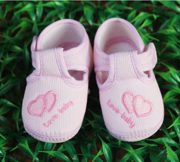 pink Love heart Newborn Baby Girl Cotton Soft bottom shoes spring and autumn Non slip toddler