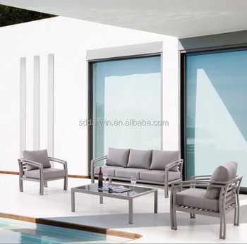 Aluminum Outdoor PE Rattan Furniture Mental Garden Sofa Salon De Jardin