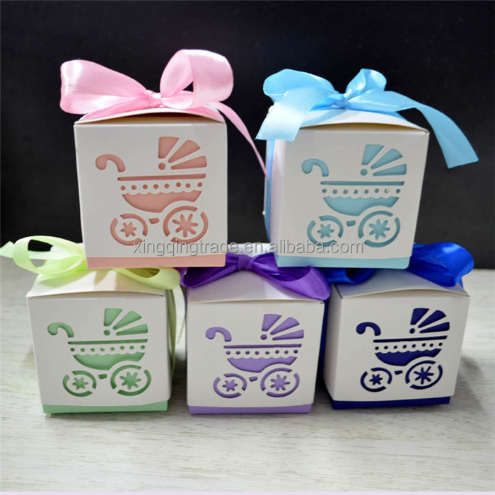 Laser Cut Baby carriage Shower Candy Gifts Boxes Favor Boxes With Ribbon Carriage Shower Wedding Birthday Party Supplies